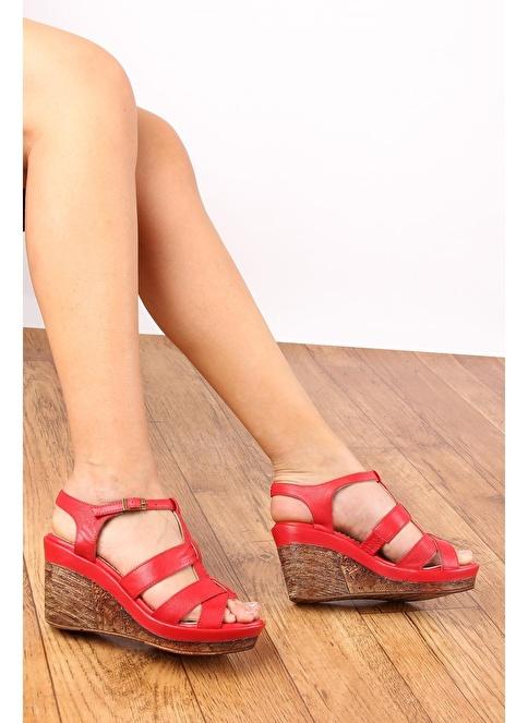 G.Ö.N. Hakiki Deri Ayakkabı Kırmızı
